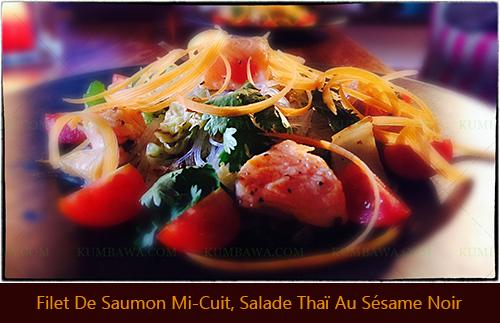 Filet De Saumon Mi-Cuit Salade Thaï Au Sésame Noirthb