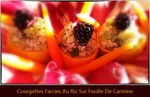 Courgettes Farcies Au Riz Sur Feuille De Carmine