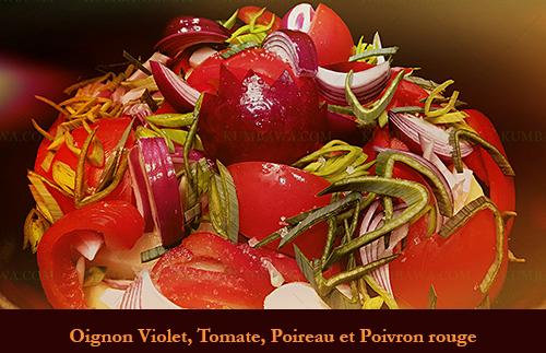 Oignon Violet, Tomate, Poireau Et Poivron Rouge